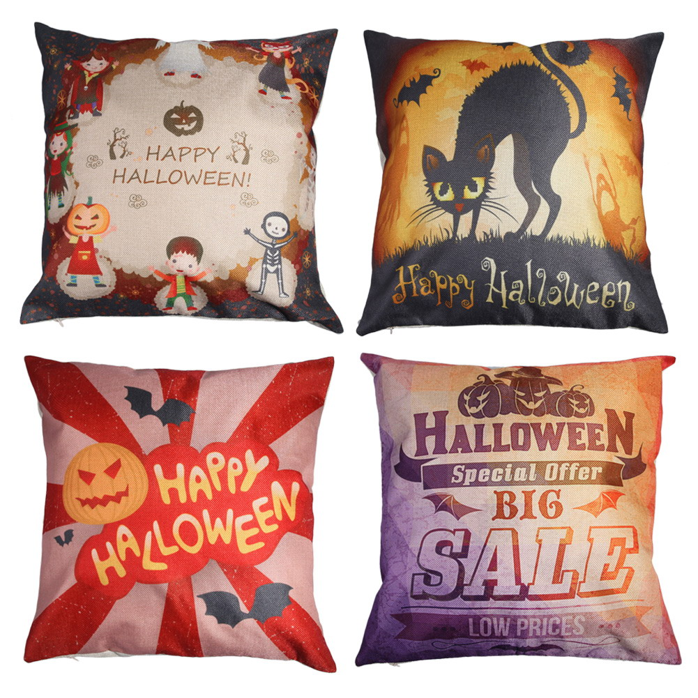 Vintage Halloween Pillow Case Party Cotton Pillow Cover Pillow Decorative Cushion Cover for Sofa