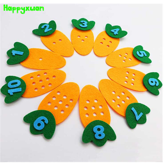 Toys For Preschoolers And Kindergarteners 3 5 : Felt carrot points number matching game kindergarten