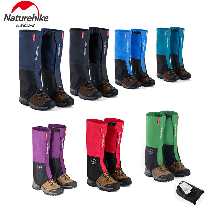 Naturehike Waterproof Snow Covers Outdoor Meadows Skiing Leg Gaiters Boots <font><b>Shoes</b></font> Cover <font><b>Men</b></font> Women Dirt proof Hiking Legging Black