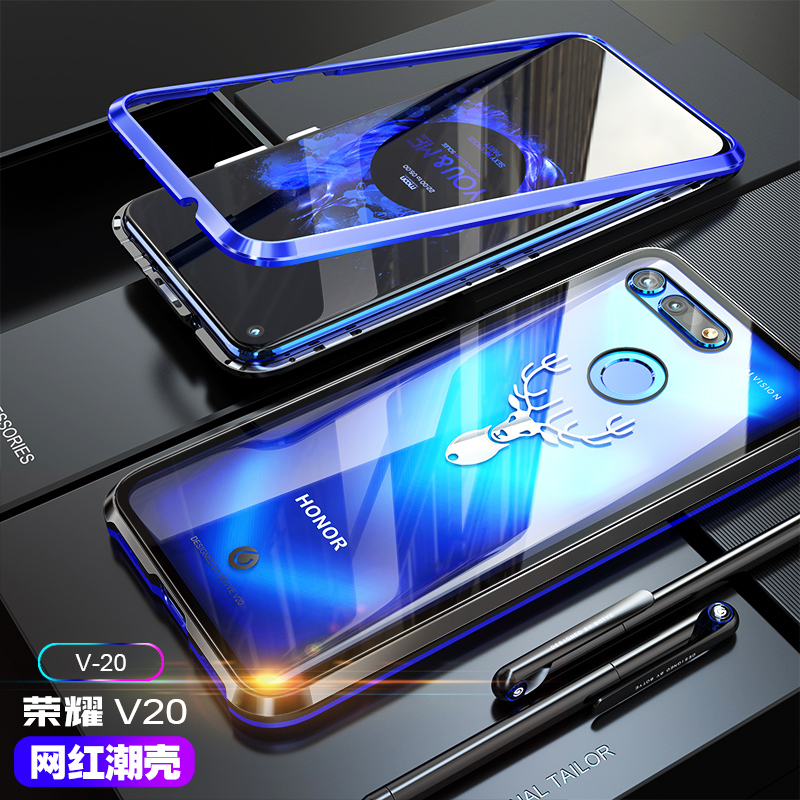For Huawei Honor V20 Magnetic Case Luxury Metal Tempered glass Cover Case For Huawei Honor View 20 V20 6.4 inch