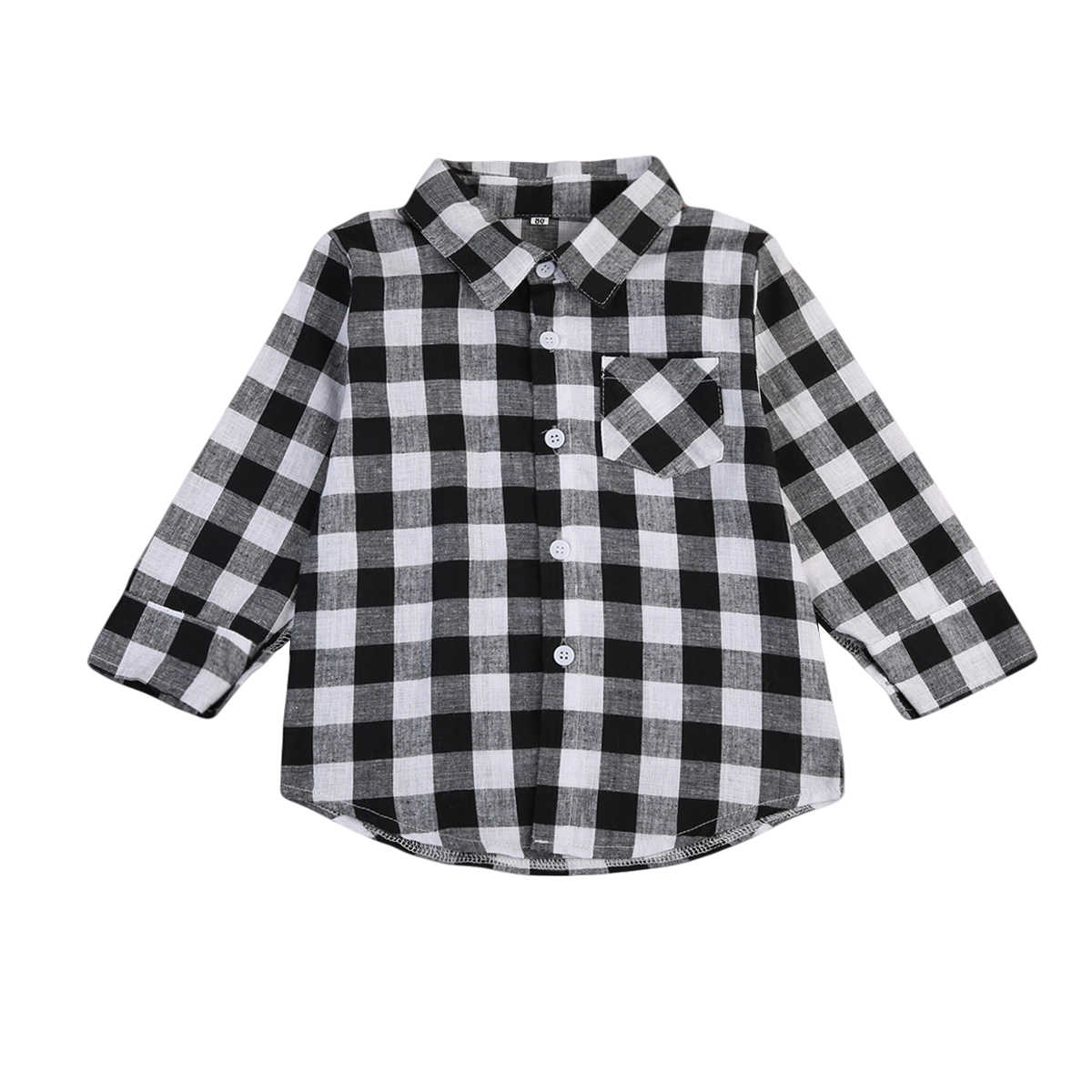 Fashion Toddler Baby Boys Girls Plaid Checked Long Sleeve Shirt Tops Clothes 1pc