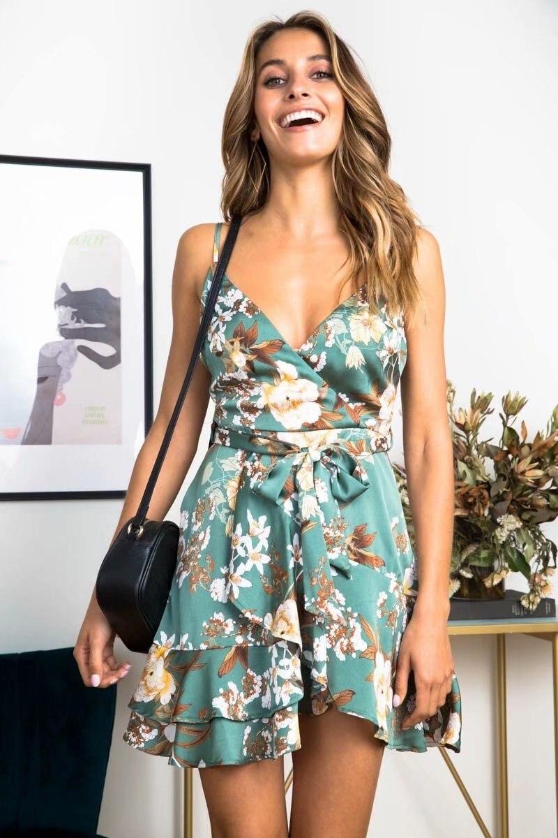 New Summer Dress 2019 Sleeveless Slim Slimming Vestidos De Verano Sexy Dress V-neck Dress Fashion Print Boho Dress Hh188