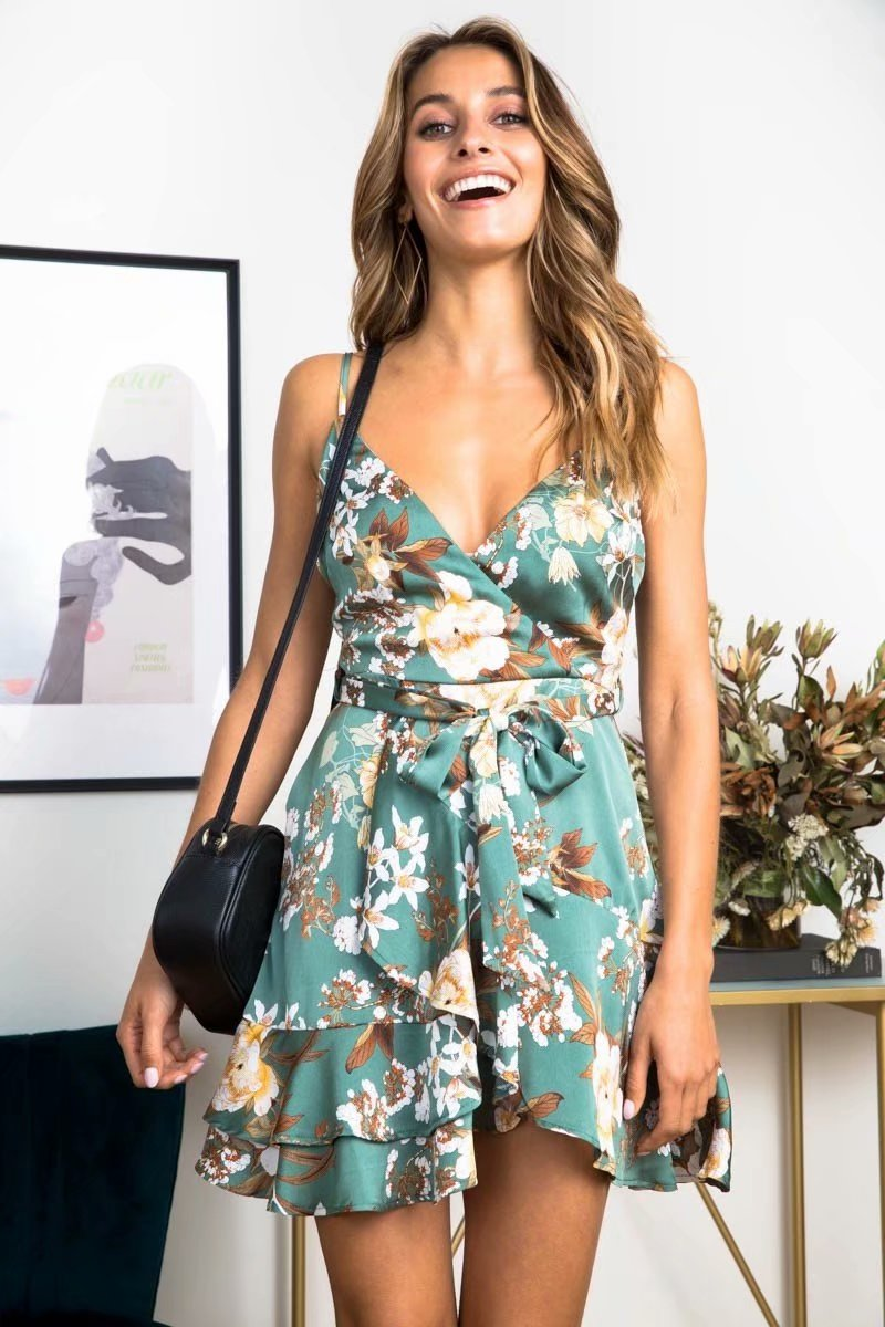 new summer <font><b>dress</b></font> 2019 sleeveless slim slimming vestidos de verano <font><b>Sexy</b></font> <font><b>dress</b></font> V-neck <font><b>dress</b></font> fashion print boho <font><b>dress</b></font> Hh188 image