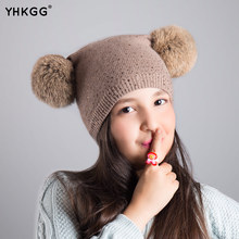ФОТО 2016 yhkgg  brand new  dual ball knitted  caps  girls toddler crochet beanie hairball ear cute children caps   beanies