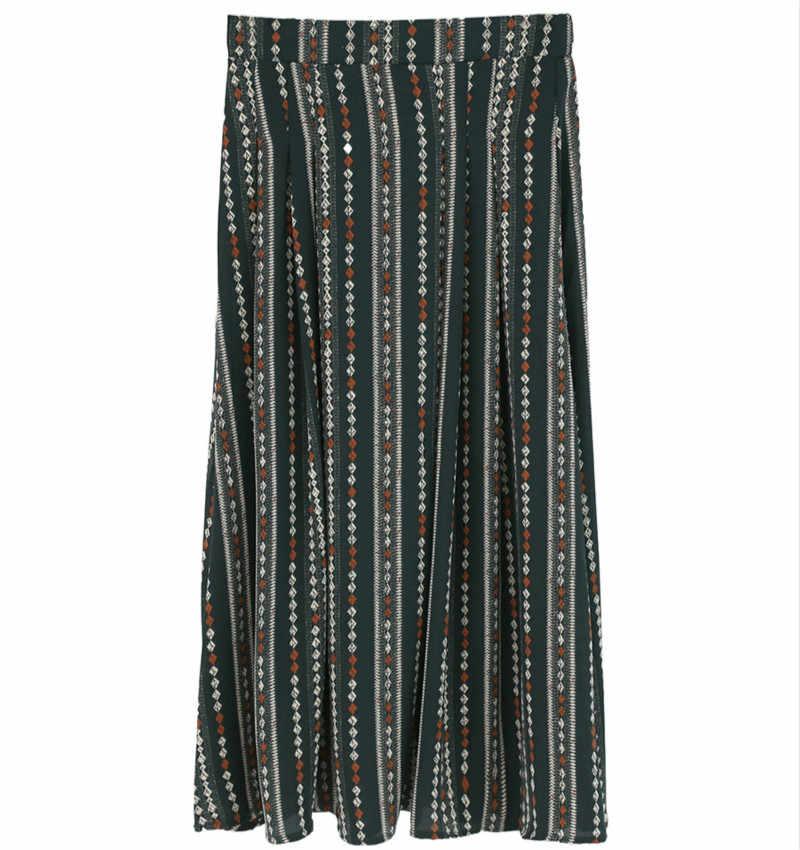 Женская юбка винтажная Тюлевая плиссированная миди юбка для женщин 2019 летнее для пляжа в богемном стиле Макси-юбка с принтом Faldas Mujer Moda YY152