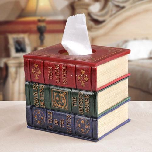 Antique elegant books tissue case tissue cover napkin box for Application box decoration