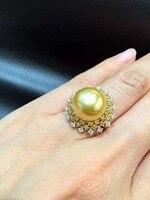 12 13 мм натуральный жемчуженое позолоченное кольцо из жемчуг из южного моря кольцо с большой жемчужиной из золота 18 карат с бриллиантом вокр