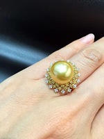 12 13 мм натуральный золотой жемчуг кольцо Southsea Pearl Ring большой жемчужиной 18 К золота с бриллиантом прекрасные женщины ювелирные изделия Беспл