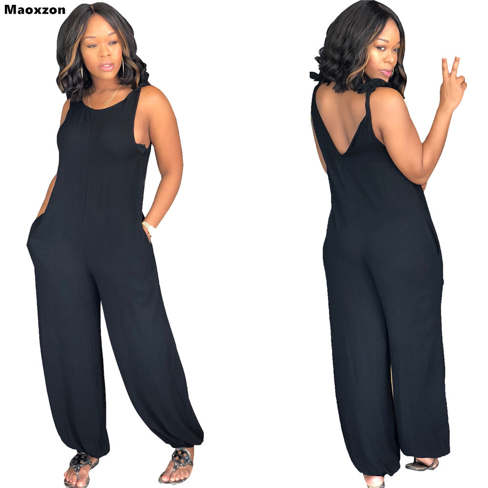 Maoxzon Womens Sexy Strap Loose Jumpsuits Rompers Black Summer Sleeveless Backless Suspenders One Piece Pants XXL For Female