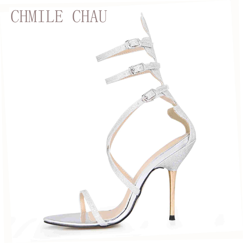 CHMILE CHAU Glitter Bridals Wedding Party Shoes Women Thin High Heels  Gladiator Rome Ankle Strap Sandals Zapatos Mujer 3845C 6c-in High Heels  from Shoes on ... 5c273af52a5c
