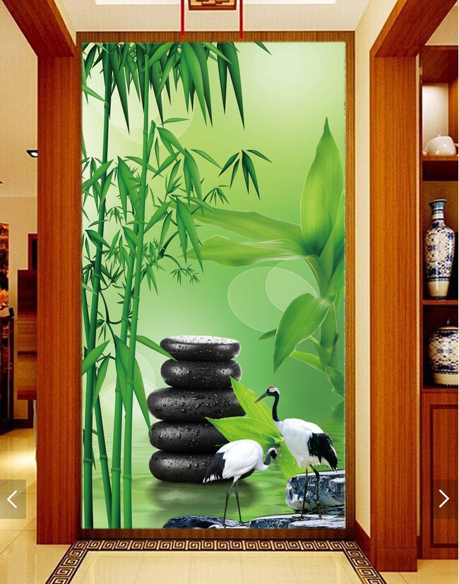 3d room wallpaper custom mural non-woven Wall sticker Bamboo crane black stone porch painting photo wallpaper for walls 3d black dandelion wall sticker wallpaper page 3