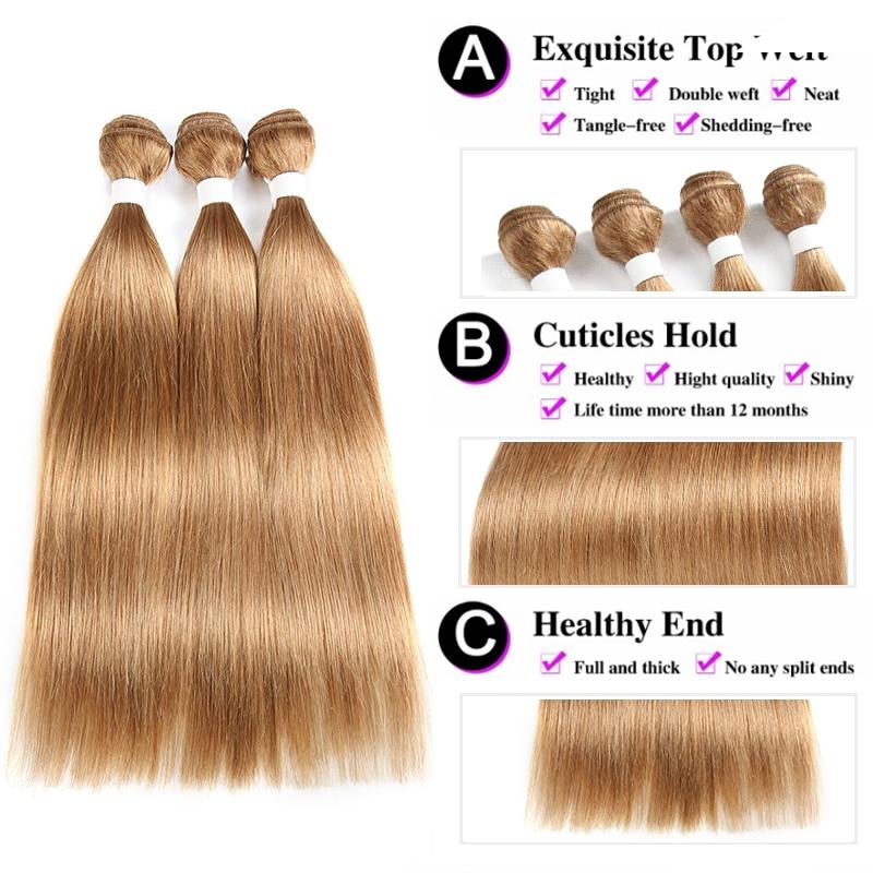 Honey Blond Hair Bundles 8 to 26 Inch Brazilian Straight Human Hair Weave Bundles KEMY HAIR 100% Non Remy Hair Extensions 1 PCS