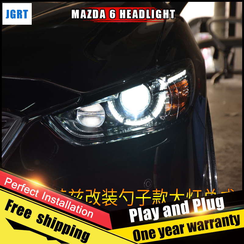 2PCS Car Style LED headlights for Mazda 6 2014-2017 for Mazda 6 atenza head lamp LED Lens Double Beam H7 HID Xenon bi xenon lens auto pro for honda fit headlights 2014 2017 models car styling led car styling xenon lens car light led bar h7 led parking