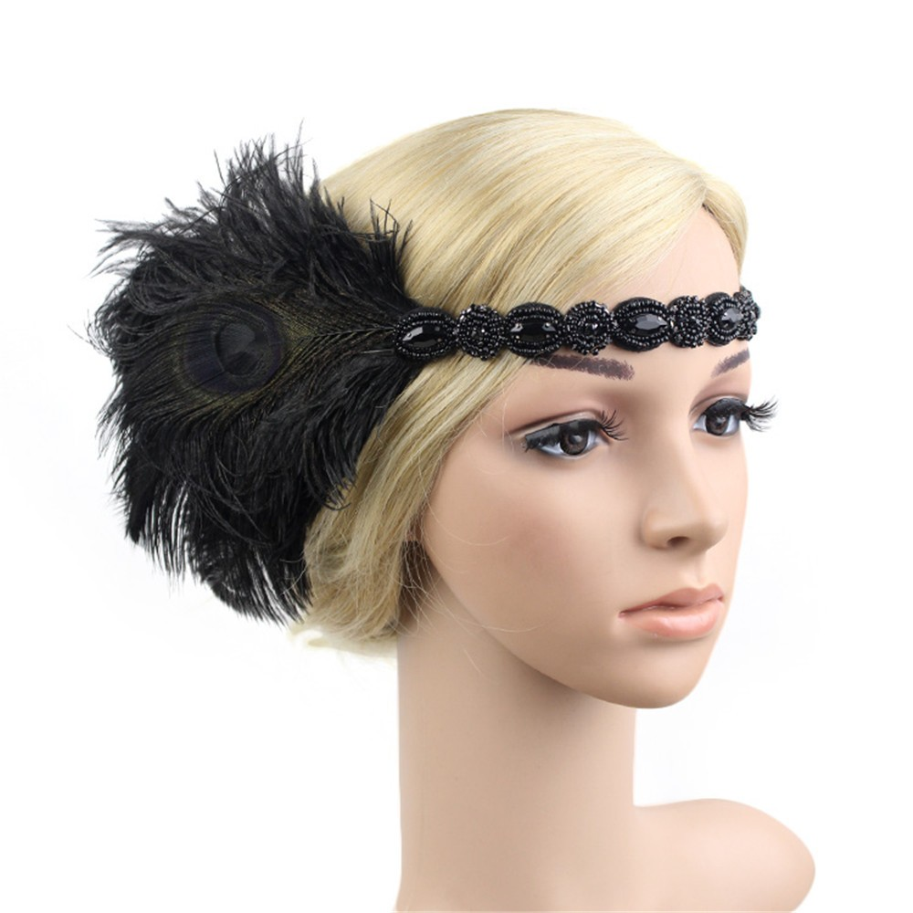 1920s Headpiece Feather Flapper Headband Great Gatsby Headdress Vintage Ozdoby Do Wlosow Accesorios Para El Cabello #0 By Scientific Process