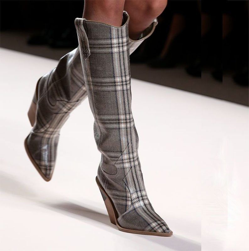 New Milan Fashion Week 2018 Punk Shoes Woman Martin Boots Lady White Snake Long Botines Black Grid Leather Winter Boots Women