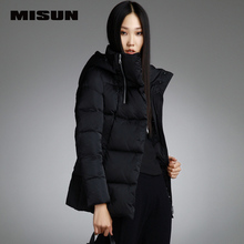 MISUN winter jacket women back embroidery asymmetrical zippers slim with a hood short thickening outerwear down coat & parkas
