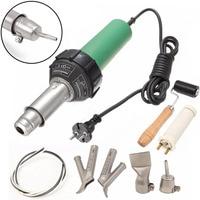 OSSIEAO 220V 1500W Hot Air Torch Plastic Welding Tool Welder Kit + 4pcs Nozzles +Roller