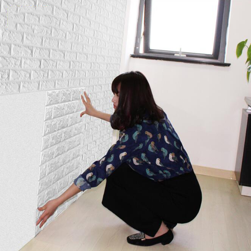 Pe foam 3d stone brick wall sticker 39 70cm home decor for Room decor 3d foam stickers