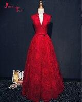 Jark Tozr Custom Made Deep V neck Open Back Sexy Formal Gowns Abendkleider Bow Beading Red Lace Evening Dresses Vestido Longo