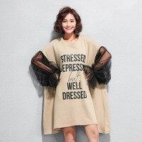 TVVOVVIN 2019 summer autumn Women Big Size Clothing Asymmetric Dress Letter Print Irregular Shirt Dress Vestidos Loose Mini A519