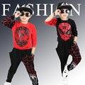 Новый Человек-Паук Детская Одежда Устанавливает Мальчиков-подростков, Человек-Паук Косплей спортивный Костюм Дети Устанавливает куртка + шаровары 2 шт. Мальчиков одежда