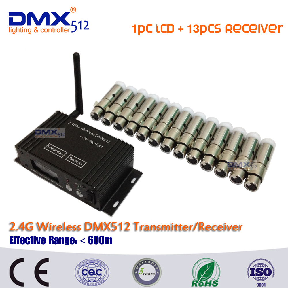 DHL Free shipping  dj equipment DMX512 wireless set 2.4GHz XLR 1pcs LCD+13pcs mini receiver in dj disco party lights new restaurant equipment wireless buzzer calling system 25pcs table bell with 4 waiter pager receiver