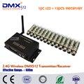 Dhl бесплатная доставка ди-джеев DMX512 беспроводной комплект 2.4 ГГц XLR 1 шт. жк + 13 шт. мини-приемник в диско dj ну вечеринку огни