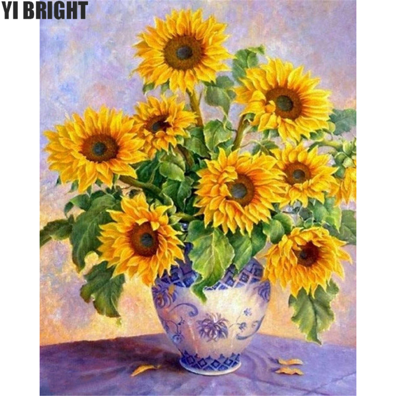 5D DIY diamond embroidery Sunflower vase diamond painting Cross Stitch full square drill Rhinestone mosaic decoration ZX
