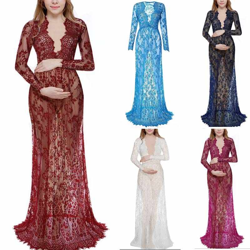 2018 Maternity Lace Dress Maternity Photography props Clothing For pregnant women Maxi Fancy Shooting Photo pregnancy dress