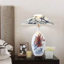 Chinese Ceramic Table Lamp Home Decorative Desk Lamp E27 Beroom Superior Villa Luxury Decoration Lights Indoor lighting Fixtures(China)