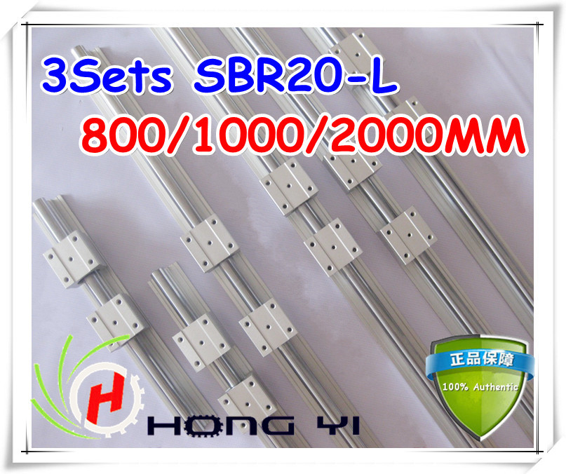 2Sets SBR20 Linear Guides -800mm/1000mm/2000mm linear rails +12 pcs SBR16UU linear bearings (can be cut any length)