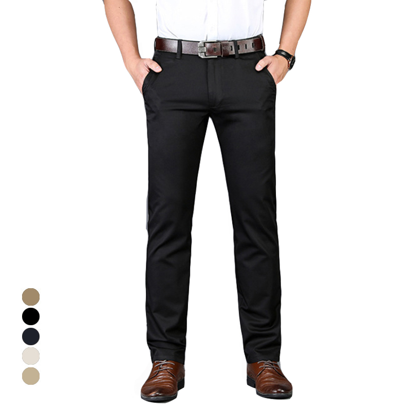 2019 New Cotton Business Men Trousers Mens Casual Pants Mens Fashion High Stretch Elastic Male Black Gray Plus Size 40 42