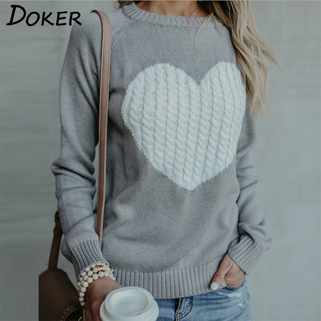 Women Long Sleeve Knitted Sweaters Casual Love Heart Jumper O-neck Pullover  Sweater Autumn Winter a610e08a062f