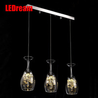 Red Wine Glass Single Head More Than Three Meals Chandeliers Modern Restaurant Bar Crystal Glass Plate