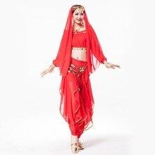Wholesale Women Dance Wear 4-piece Costume Set Rhinestone Headpiece, Halter Top, Coin Belt and Pants Indian Belly Dance Costumes