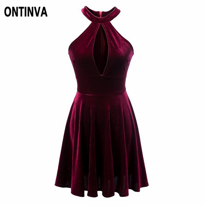 velours jurk rood