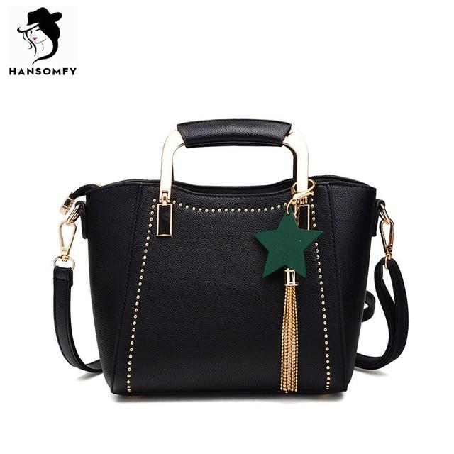 0bddf7e821c3 HANSOMFY Women Bags PU Leather Shoulder Bags Zipper Solid Hardware Handle  Bucket Tote Bag with Tassel Star Brand Vintage Handbag