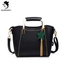 HANSOMFY Women Bags PU Leather Shoulder Bags Zipper Solid Hardware Handle Bucket Tote Bag with Tassel Star Brand Vintage Handbag