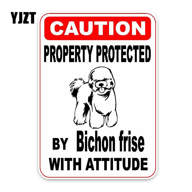 цены YJZT 10*14.2CM Property Protected By Bichon Frise Dog The Tail Of The Car Reflective Car Stickerr C1-4760