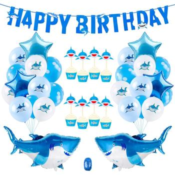 40PCS Shark Balloons Birthday Party Decoration Shark Theme Balloon set Happy Birthday Party Shark Foil Latex Baloons Babyshower 1