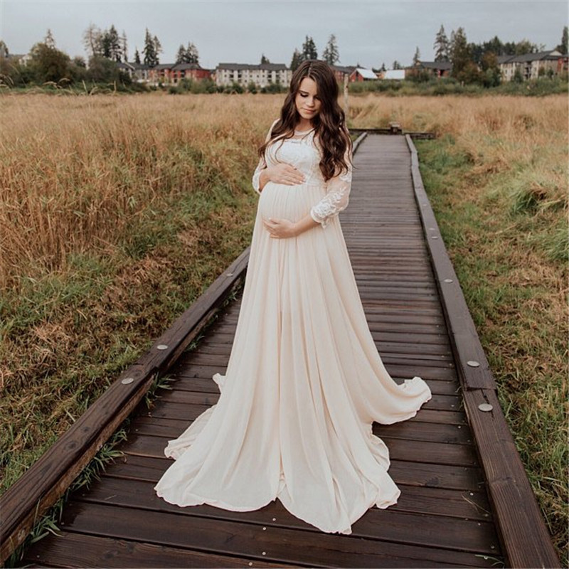 Maternity Photography Props Long Dress Crochet Lace Maternity Chiffon Dress Pregnancy Dress Photography Pregnancy Clothes Dress(China)