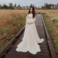 Maternidad fotografía Props vestido largo Crochet encaje maternidad vestido de gasa vestido de embarazo fotografía ropa de embarazo vestido