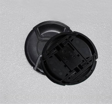 Wholesale 30pcs/lot 49 52 55 58 62 67 72 77 82mm center pinch Snap on cap cover Logo for nikon/canon camera Lens with tracking