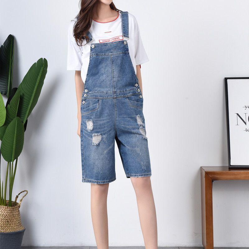 Short Jumpsuits Overalls Bib-Pants Plus-Size Casual Summer Women Denim Wide 7XL F811