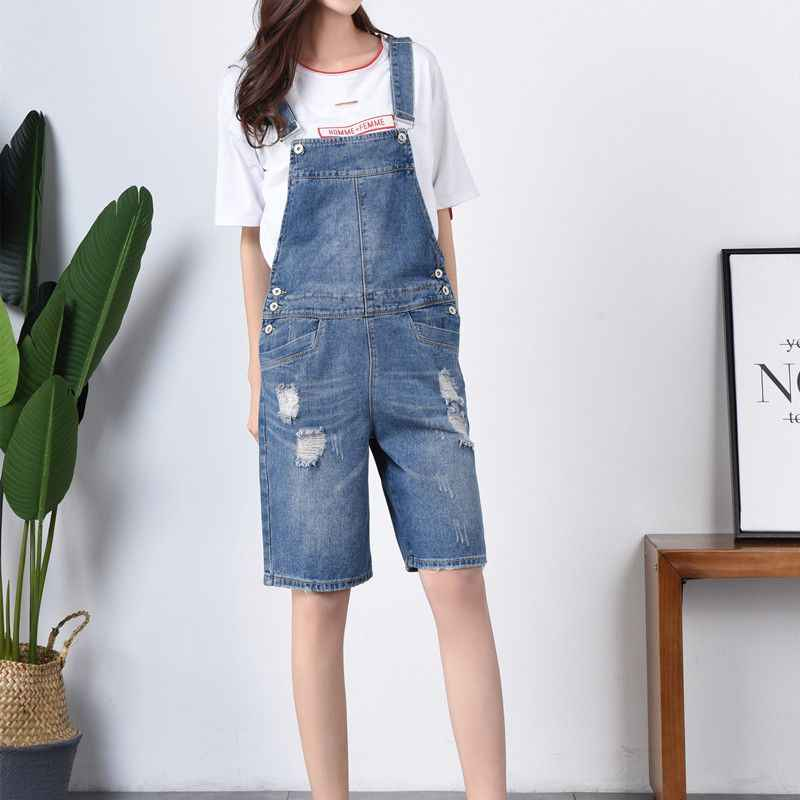 9cd7b7a56d9 Plus Size 7XL Summer women denim bib pants casual short Playsuits Ripped  Wide leg jean Overalls