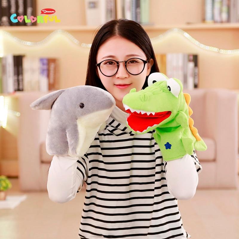 1PCS 30cm green frog, shark, crocodile plush hand puppet, parent-child interactive game gift, kid toy, birthday present