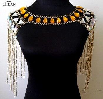 Chran Glass Beaded Crop Top Rave Bra Necklace Burning Man Festival Costume Wear EDC Outfit Coachella Ibiza Sonar Jewelry CRN2805