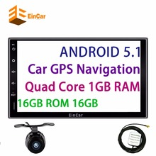 "7"" inch Quad Core Android 5.1 GPS Navigation HD Display Car Double Din Radio Audio WIFI 4G Auto no DVD Multimedia Player+camera"