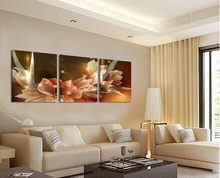 HOME DECOR Canvas Painting Wealth and luxury golden flowers 3 Piece Art Cheap Picture Home Decor On Canvas Modern Wall Prints(China)