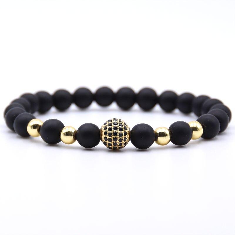 2019 Trendy Couple Matte Stone Pave CZ ball Charm Bracelets For women Bracelet Men Jewelry Pulseira